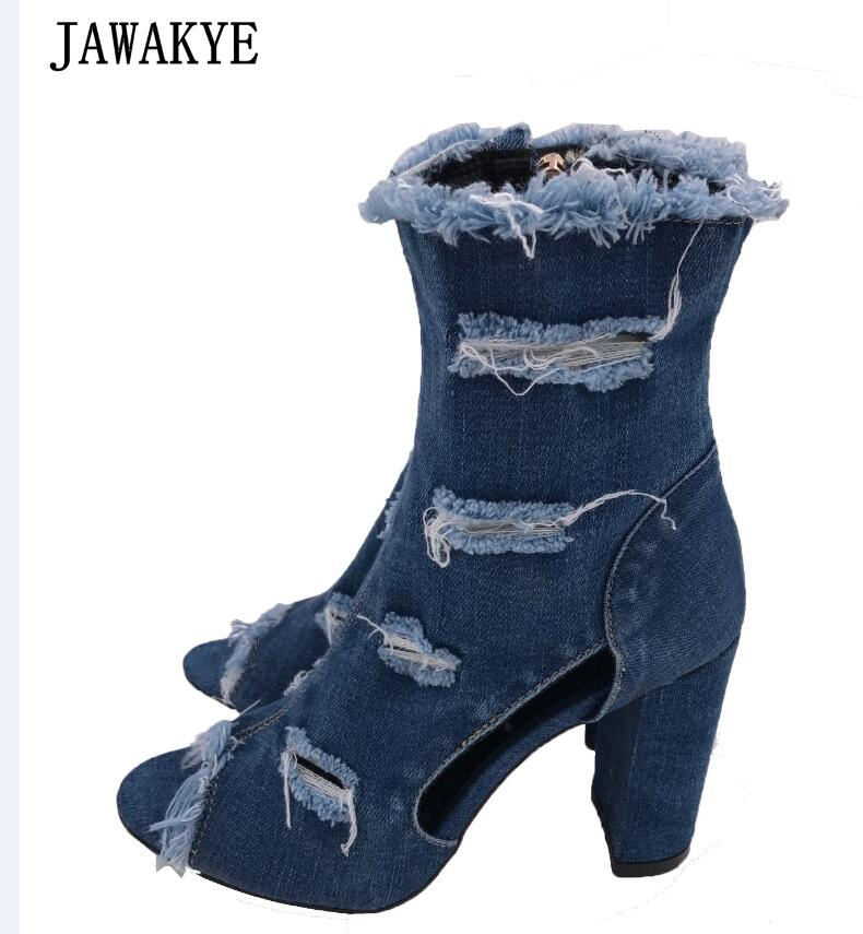 Blue jeans bota feminina 2018 summer shoes ankle boots for women cowboy denim high heels sexy peep-toe tear hollow out sandals
