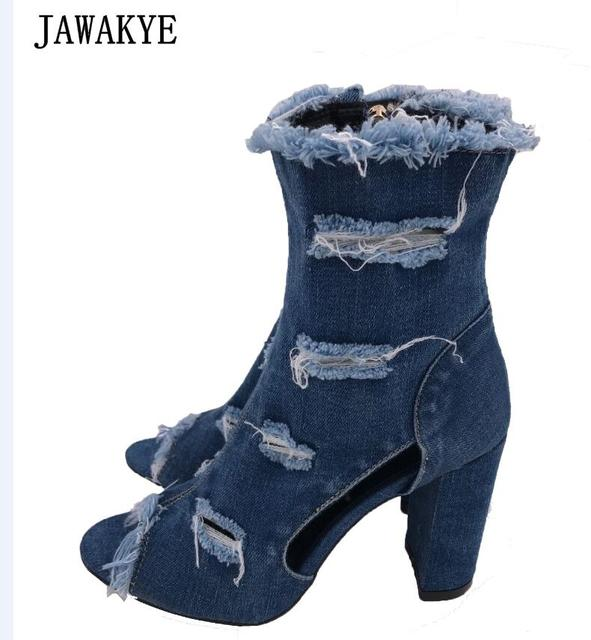 Blue jeans bota feminina 2018 summer shoes ankle boots for women cowboy  denim high heels sexy peep-toe tear hollow out sandals 1edf007e6533