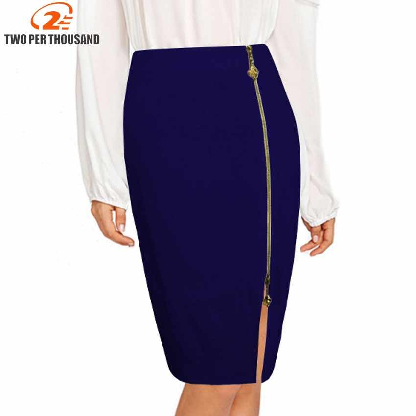 1be17d6c92 S-4XL Plus Size Sexy Multi Color Black Zipper Midi Pencil Skirt Women 2018  Fashion