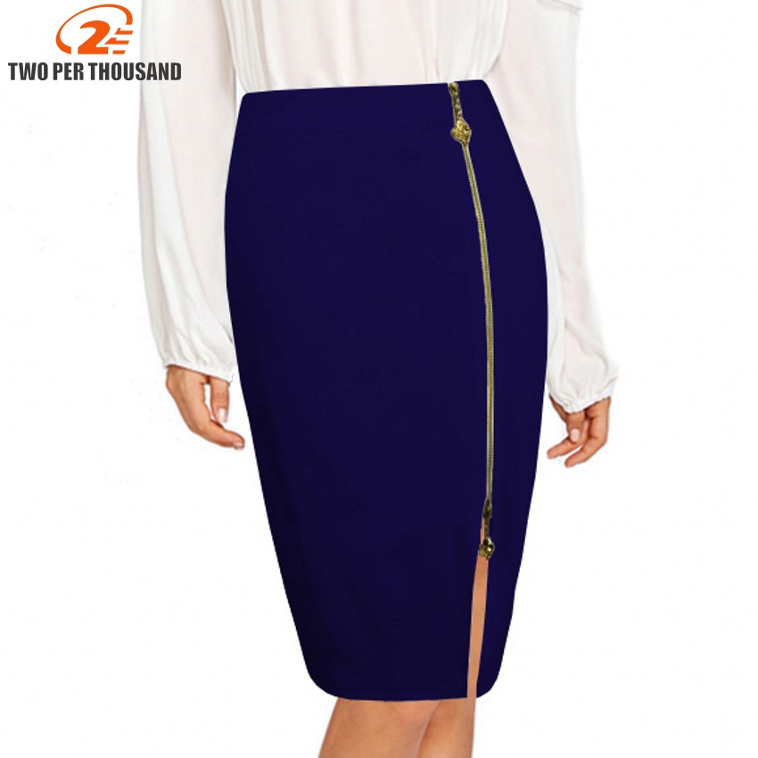 60% clearance big selection of 2019 details for US $9.2 38% OFF|S 4XL Plus Size Sexy Multi Color Black Zipper Midi Pencil  Skirt Women 2018 Fashion High Waist Office Lady Bodycon Skirts Saias-in ...