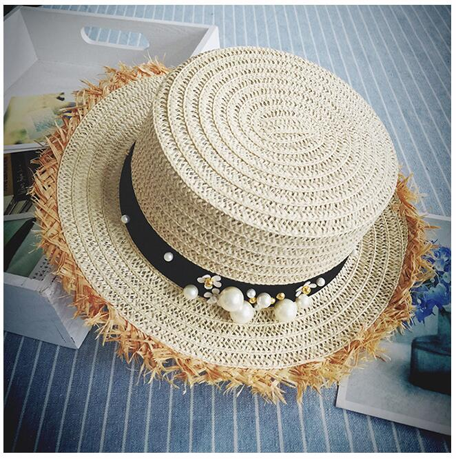 lovely Flat top straw hat Summer Spring women's trip caps leisure pearl beach sun hats black breathable fashion flower girl hat