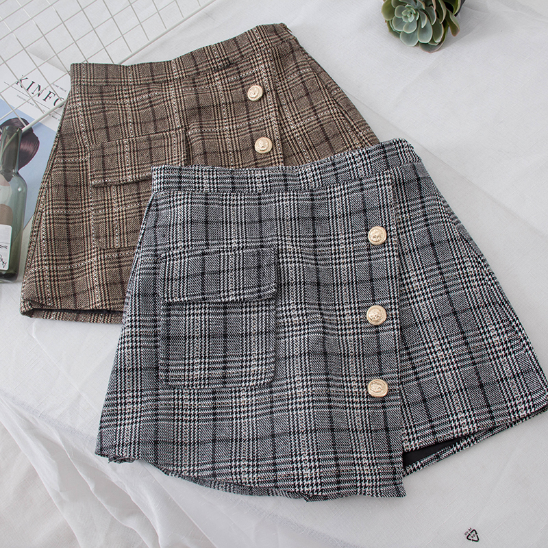 2018 New Fashion Women's Skirt Shorts Plaid Woolen Shorts Autumn And Winter New Short Pants