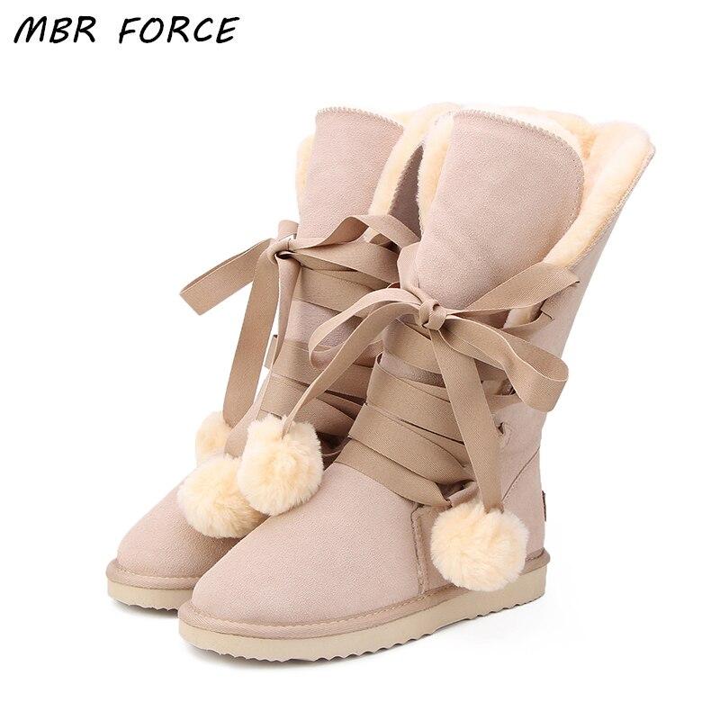 MBR fuerza de alta calidad botas de nieve de las mujeres de invierno de moda de las mujeres de cuero genuino Australia clásico de las mujeres de invierno