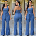 Womens Romper Denim Jeans Jumpsuits Sexy Halter Bandage Off Shoulder Club Casual Female Overall Long Slim Bodycon Jumpsuits