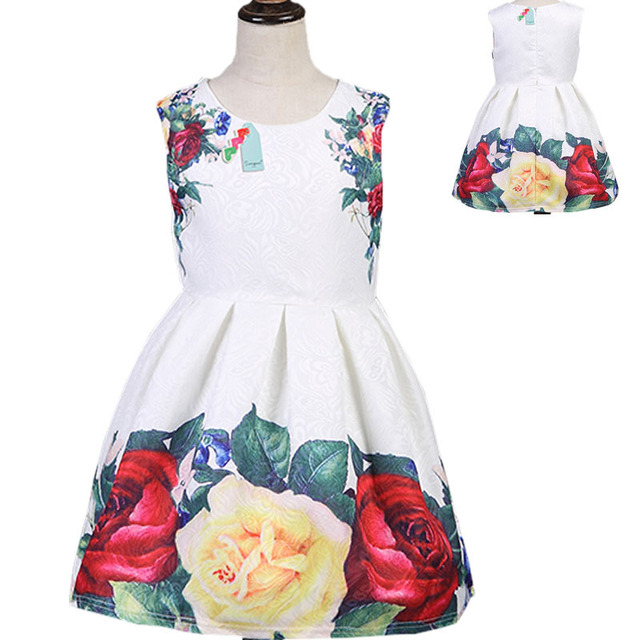 19af96795 Floral Children Baby Dress Girl Wedding Party Princess 3 9 Year ...