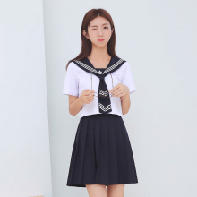 2018 Summer School Uniforms Tie Set Sailor Costume Set Japanese School Uniform Girl Short/Long Sleeve Students Clothes