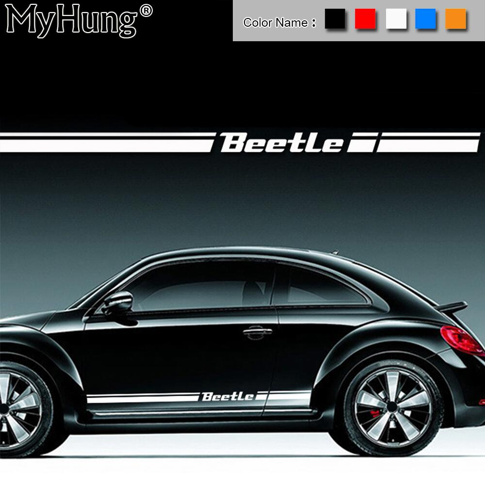 For VW Beetle For Volkswagen Beetle Car Body Sticker Customizable Motorsports Door Auto Stickers Decal Car-Styling 2pcs Per Set car styling uchiha sasuke naruto door stickers japanese anime vinyl sticker decals auto body racing decal acgn car film paint