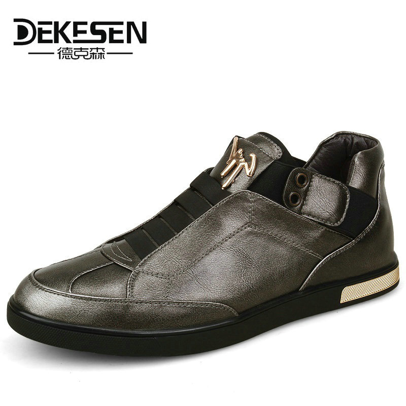 Dekesen Brand Retro Style Mens Leather Shoes, High Quality Golden Casual Shoes, Spring Autumn daily net leisure Flats for men hot sale mens italian style flat shoes genuine leather handmade men casual flats top quality oxford shoes men leather shoes