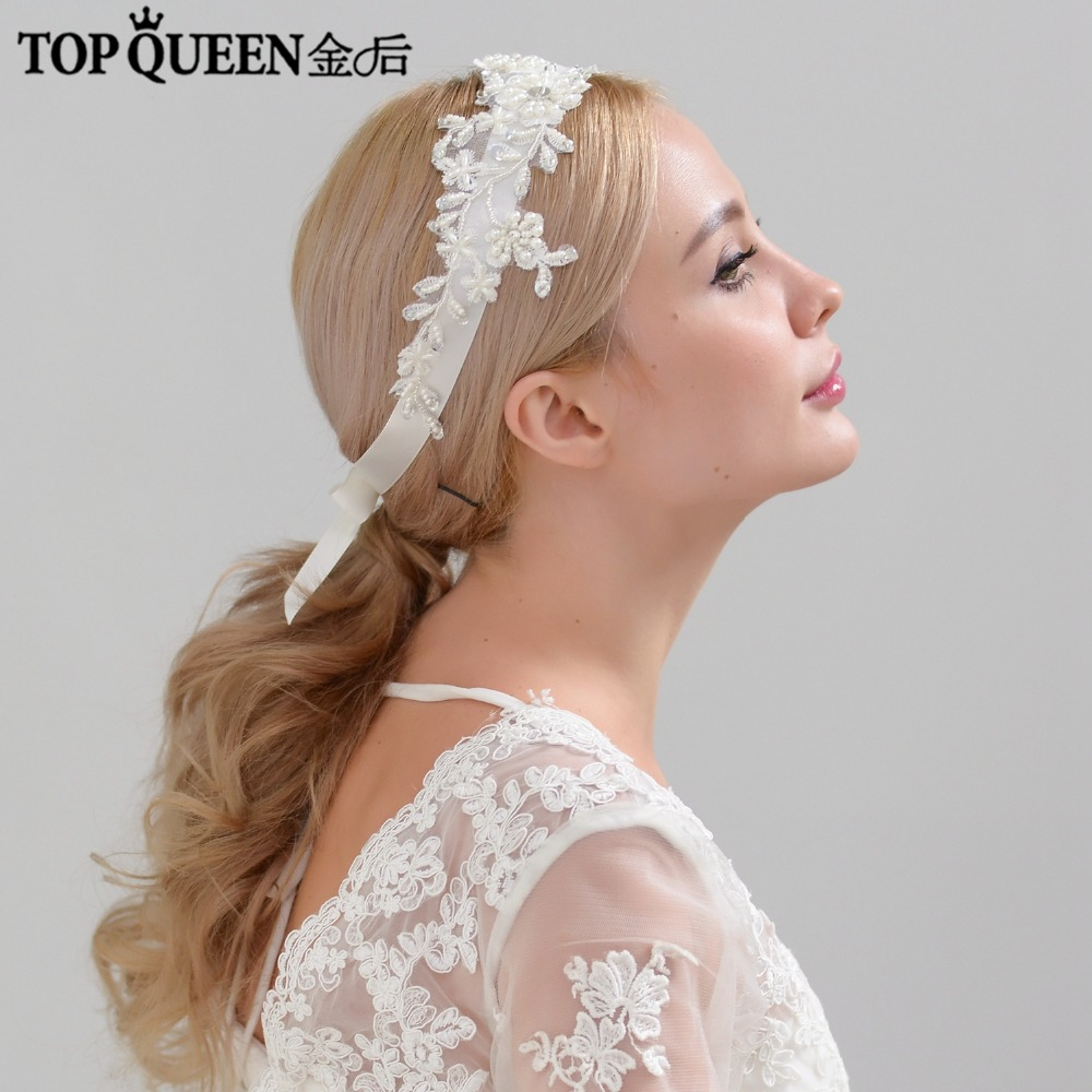 TOPQUEEN H46 Fashion Bridal Wedding Headband Pearls Beaded Flowers Hairband Bride High Quality Elegant Hair Accessories