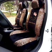 10 unids universal car seat covers leopard universal cartoon hello kitty fundas de asiento de coche universal car interior accesorios