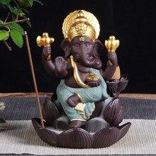 Ganesha Statue Lotus Incense Waterfall Ceramic Backflow Burner Elephant God Hinduism Buddhist Decor Cone Holder
