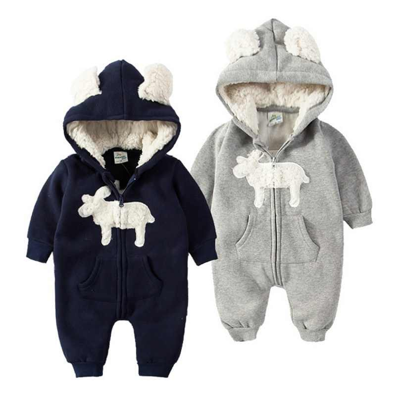 Autumn Newborn Baby Rompers Infant Winter Clothes Baby Boy Girl Jumpsuit Hooded Costume Suit Thick Warm Toddler Outerwear