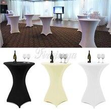 10 stücke Weiß/Schwarz/Elfenbein Stretch Cocktail Lycra Dry Bar Spandex Tischabdeckung Tischdecke Hochzeitsparty Party Decor 60 cm/80 cm