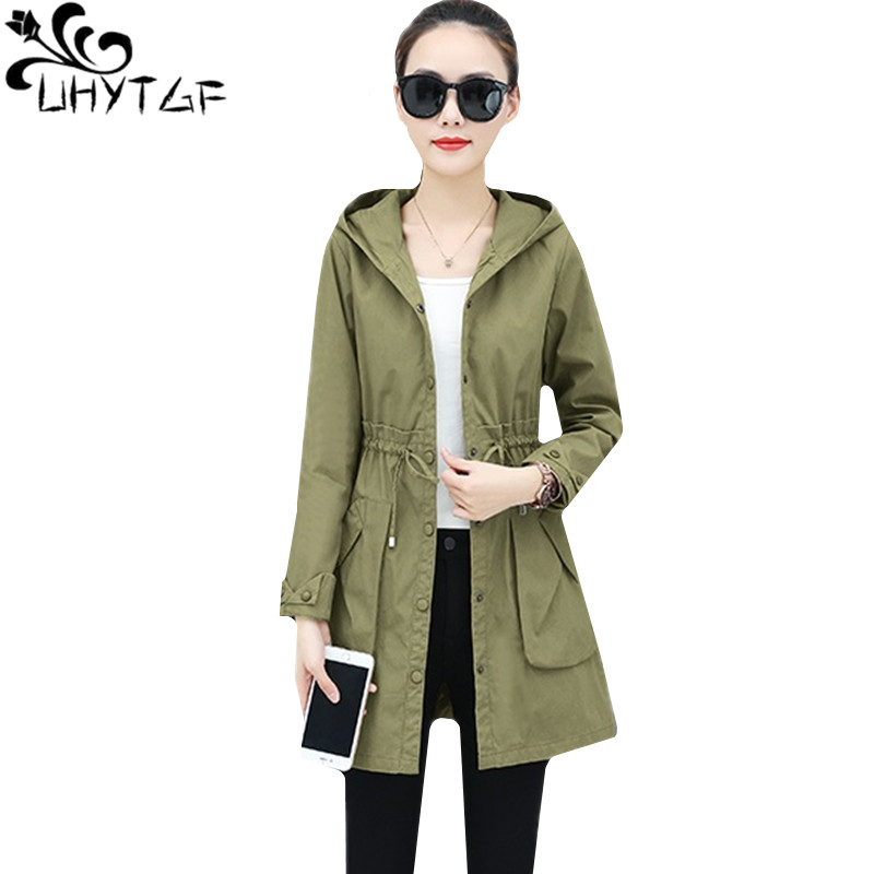 UHYTGF Fashion women   trench   coat Mid-length Mid-length Hooded spring autumn tops outerwear New Lace-up Slim Plus size coats 1479