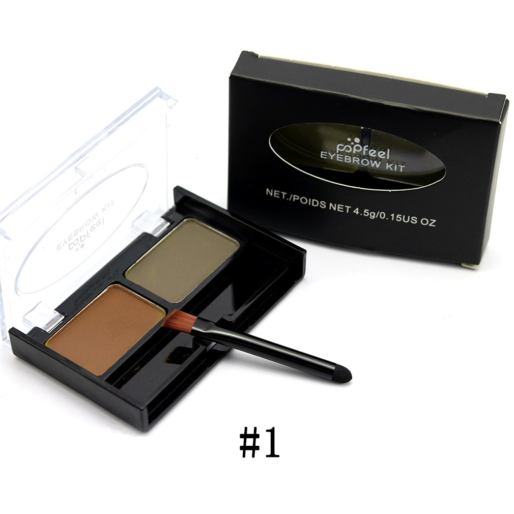 POPFEEL 2 Colors Beatty New Professional Waterproof Eyebrow Powder Soft Eyebrow Brush Kit Makeup Cosmetic Long