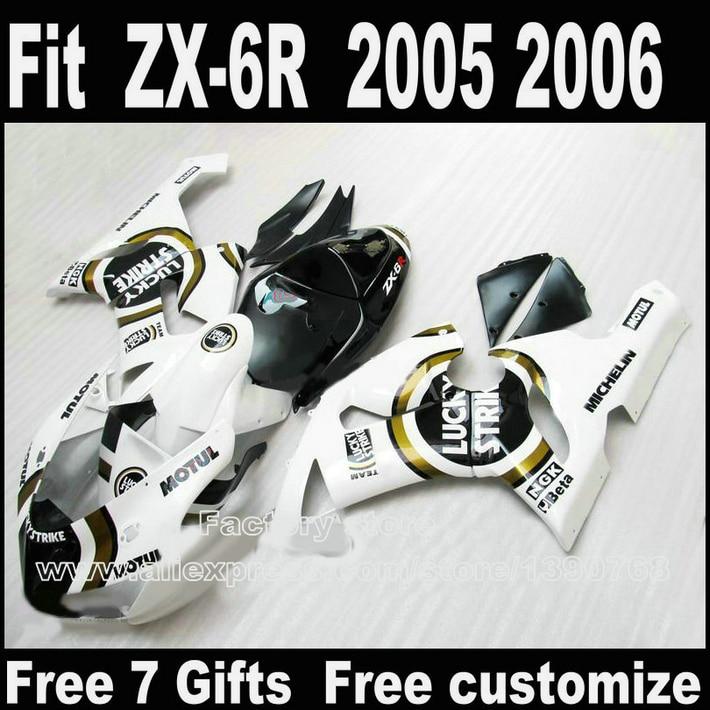 Best price Body kit for Kawasaki ZX6R fairing kits 2005 2006 white black LUCKY STRIKE Parts 05 06 Ninja 636 fairings DS8 mymei best price new portable 3 5mm pillow speaker for mp3 mp4 cd ipod phone white