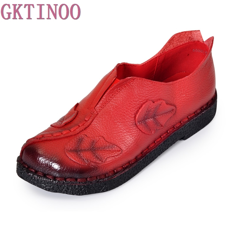 Women's Handmade Shoes Genuine Leather Flat Slip-resistant Mother Shoes Woman Loafers Soft Single Casual Shoes Women Flats flat bottomed luxury mens loafers mark thread heel cover pedal leather strappy solid italian cowhide slip resistant soft leather