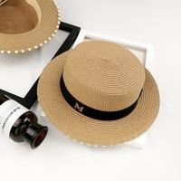 Tide Elegant Woman Summer Flat Straw Hat Fashion Pearl M Letter Holiday Women Sun Hat
