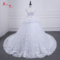 Jark Tozr 100% Real Photos Robe De Mariee Pearls Crystal Bow Full Flowers Princess Ball Gown Wedding Dresses With 1.5 Train 2018