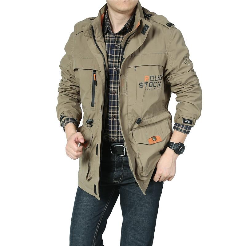 2018 Bomber Soft Shell Jacket Men Army Jacket Breathable Windproof Raincoat Multi-pocket Waterproof Jacket Windbreaker Men Coat lrl lauren active women s plaid pocket windbreaker jacket l turquoise multi