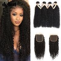 Debut Malaysian Hair Bundles With Closure 28 Inch Curly Bundles With Closure 3/4 Human Hair Bundles With Closure Hair Extension