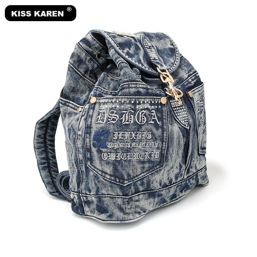 KISS KAREN Classic Fashion Women Backpack Jeans Women s Backpacks Denim Travel Bag Teenagers Backpack female