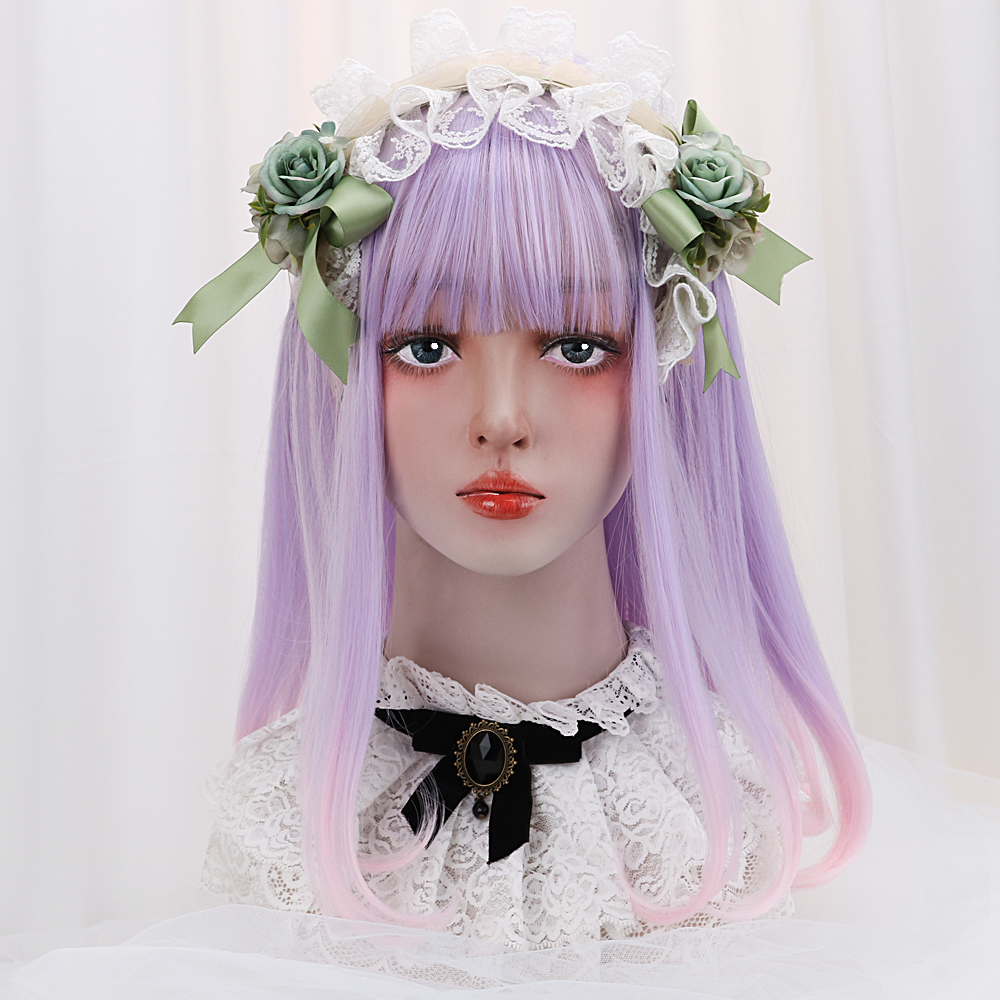 16''Synthetic Straight Lolita Wig With Bangs Purple Pink ...