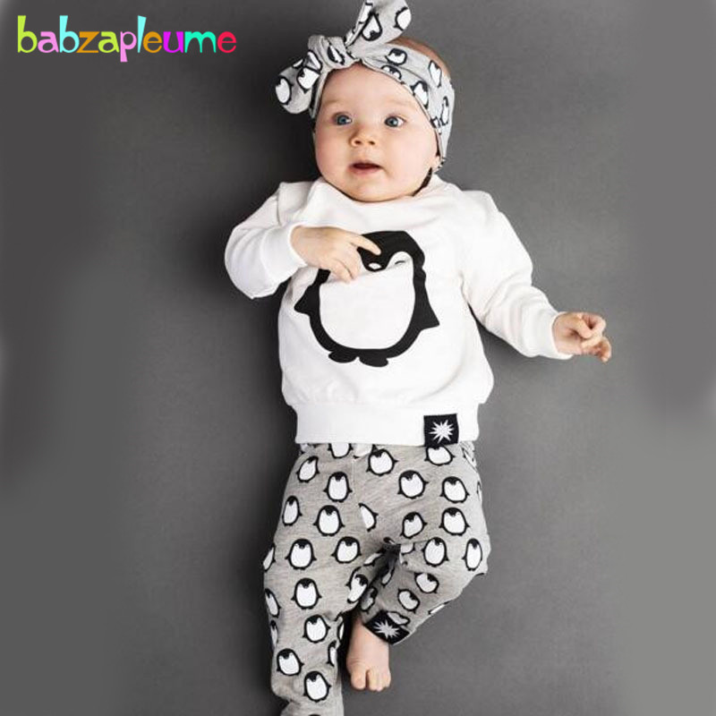 babzapleume Spring Autumn Newborn Clothing Sets Cute Long Sleeve T-shirt+Pants+Headband Baby Boys Girls Clothes 3PCS Suit BC1380