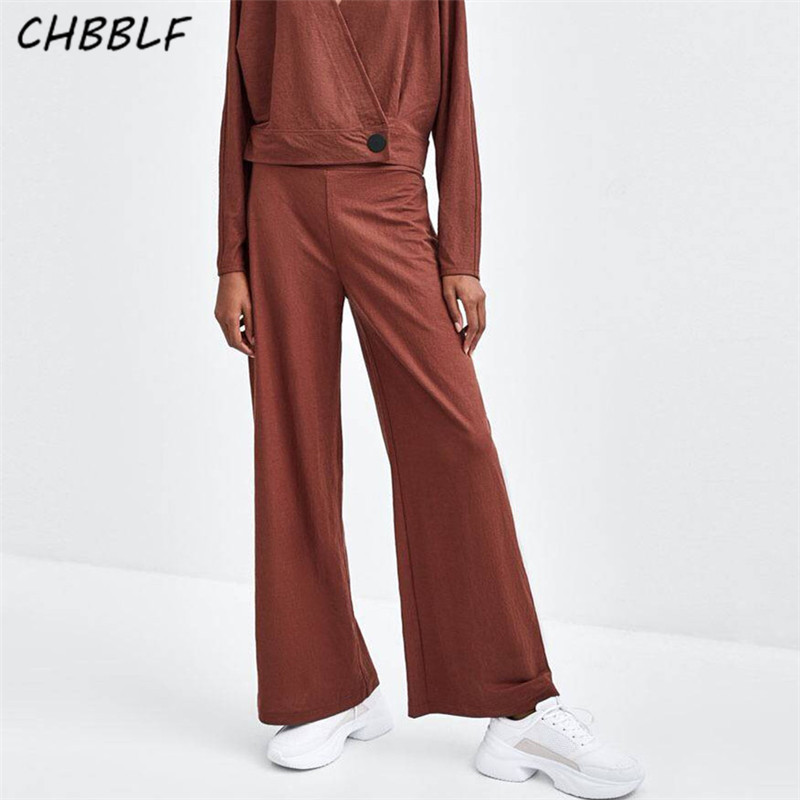 CHBBLF women elegant solid wide leg pants chic female casual streetwear trousers pantalones mujer LKL1240