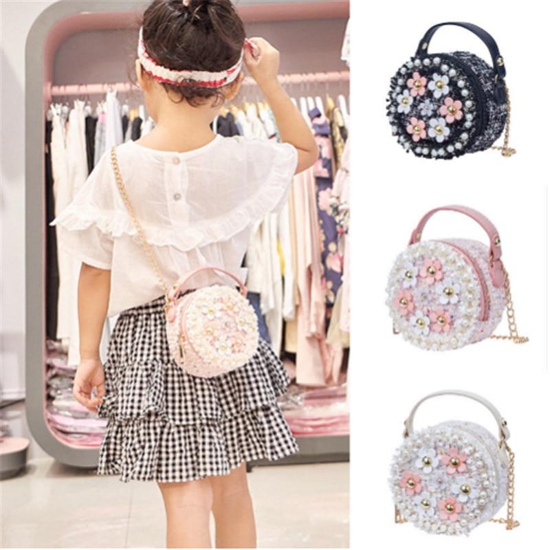 Flower Shoulder Bags Girl PU Leather Messenger Bag Girls Crossbody Bag Small Round Satchel Handbags for Girl  Gift