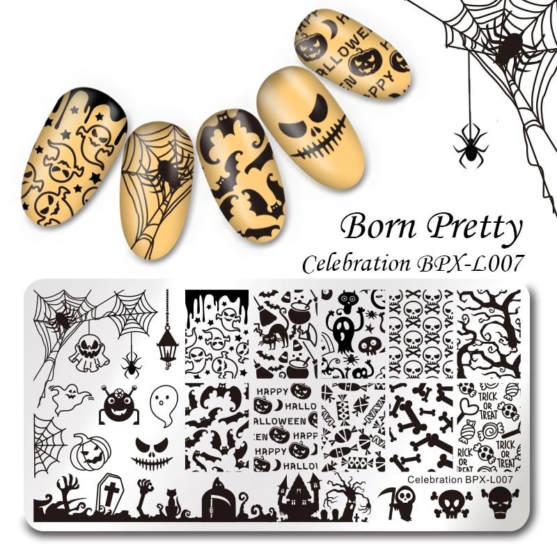 1 Pc  Halloween BORN PRETTY Rectangle Nail Art Stamping Template 12*6cm Manicure Nail Art Image Plate Celebration BPX-L007