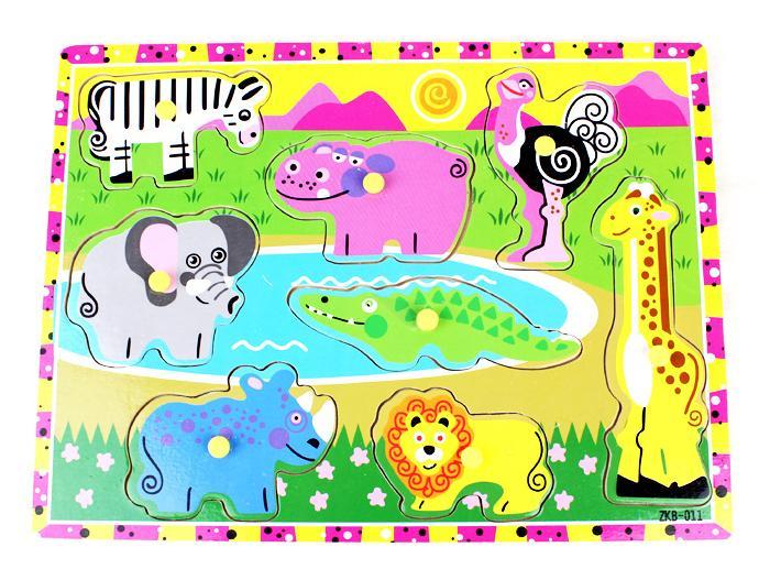 Бесплатная доставка Деревянный Пастбища животных макияж пазл игрушки, детская животных деревянные развивающие Пазлы игрушки 8 шт. Пазлы