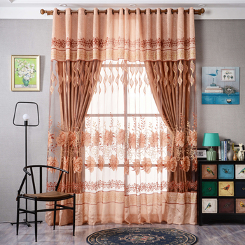 Window Curtain Hibiscus Floral Tulle Sheer Curtain Door Windows Curtains for Living Room Modern Floral Print Curtain 1X2.5M window valance
