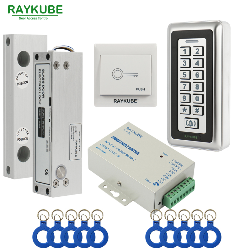 RAYKUBE Frameless Glass Door Access Control Kit Electric Bolt Lock + Metal RFID Reader Acccess Control Keypad raykube door access control kit set electric bolt lock touch metal frid reader for office glass door