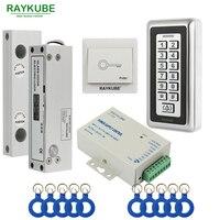 RAYKUBE Frameless Glass Door Access Control Kit Electric Bolt Lock + Metal RFID Reader Acccess Control Keypad