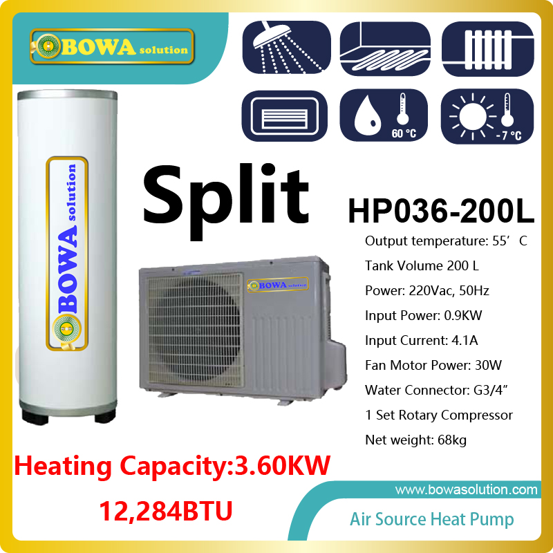 3.6KW air source split type heat pump water heater with 200L stainless steel tank, Hi-COP water heater 60l liquid refrigerant tank with valve installed in heat pump water heater for swimming pool