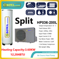 3.6KW air source split type heat pump water heater with 200L stainless steel tank, Hi-COP water heater