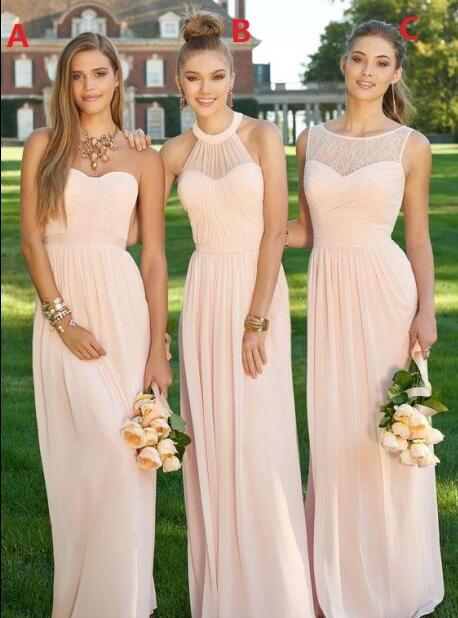 Mode klassischer Stil bestbewertetes Original 2017 peach a line maid of honor kleider billig lange ...