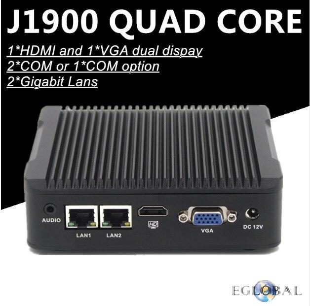 Eglobal Firewall Mini PC No Noise J1900 Quad Core Max 2.42GHz 2*Gigabit Lan Pfsense Router Security Computer COM 1*HDMI 1*VGA