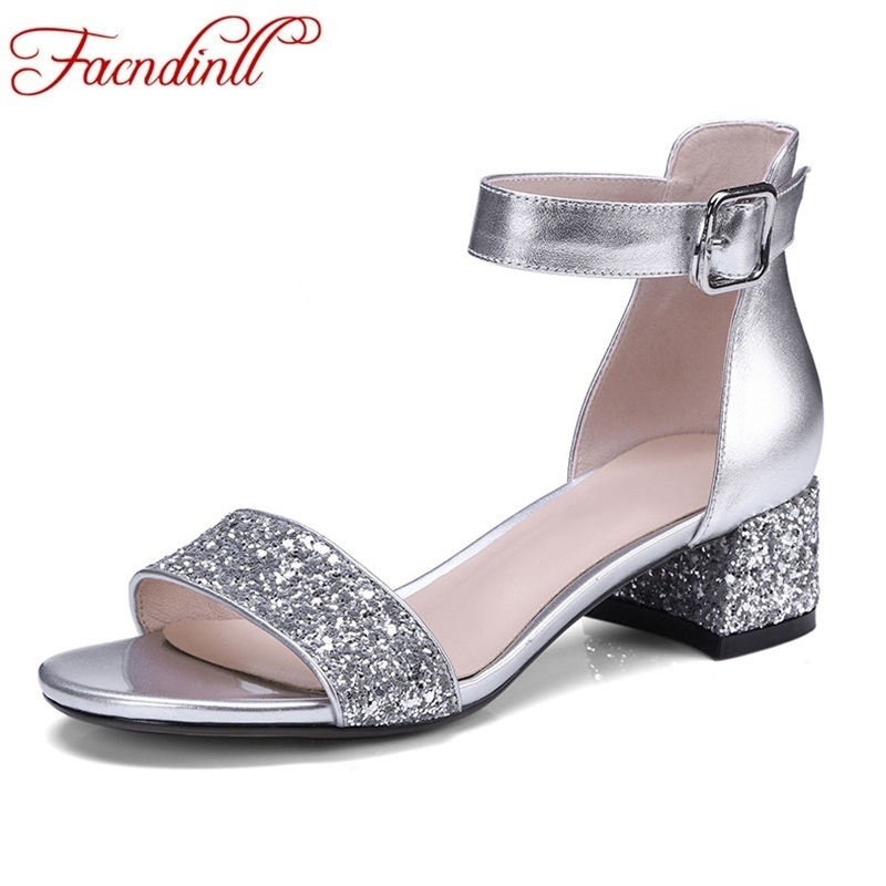 FACNDINLL best sellers 2018 summer fashion genuine leather shoes square middle heels open toe party ladies shoes women sandals facndinll genuine leather sandals for