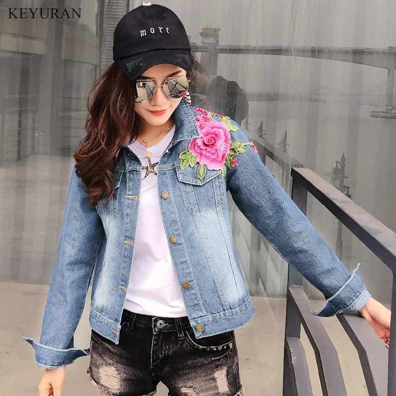 4ae644130ac Detail Feedback Questions about 2019 Spring Autumn Jean Jacket Women Punk  Blue 3D Rose Embroidered Denim Jacket Plus Size Ladies Basic Coat Vintage  Fashion ...