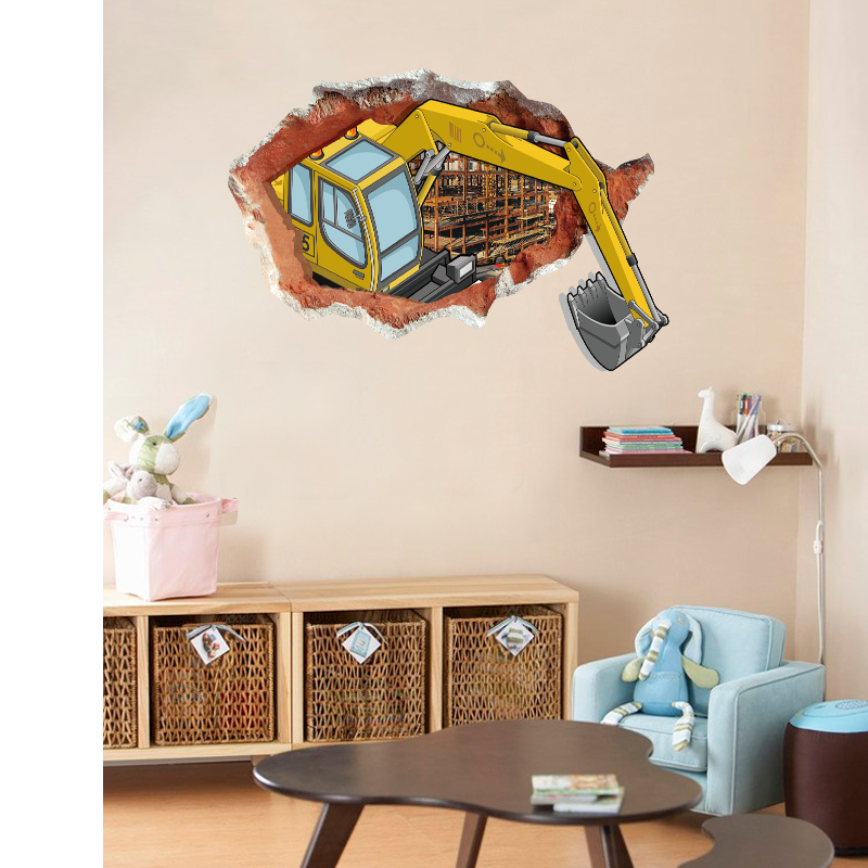 NEW Large 3d Cosmic Grab Car Building Wall Sticker Star Home Decoration For Kids Room Floor Living Room Wall Decals Home Decor 3