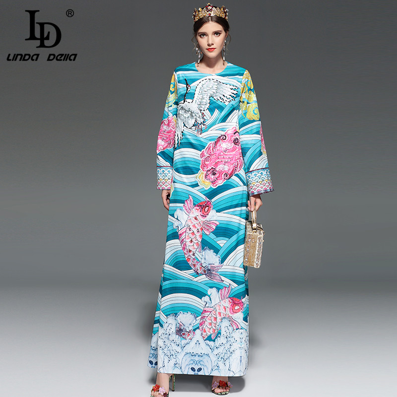 Здесь продается  LD LINDA DELLA Fashion Runway Maxi Dress Womens Long Sleeve Holiday Party Vintage Art Printed Beading Casual Loose Long Dress  Одежда и аксессуары