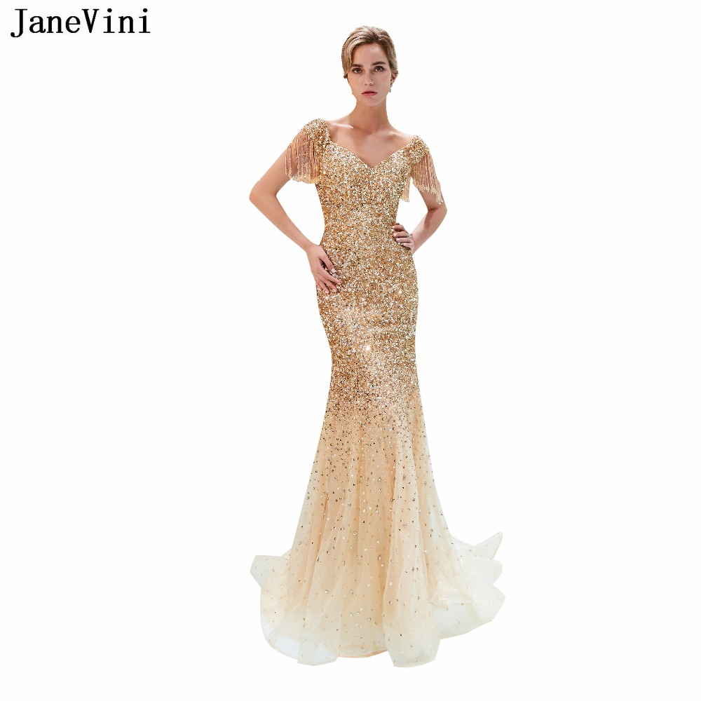 JaneVini 2018 Luxurious Gold V Neck Long   Bridesmaid     Dresses   Sweep Train Sparkle Sequined Beading Tulle Mermaid Formal Prom Gowns