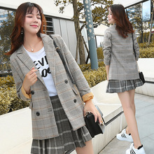 The Plaid Long-sleeved Suit Jacket Women 2019 Spring Korean Version Leisure Variety Retro Medium Long Small Suit Coat Women