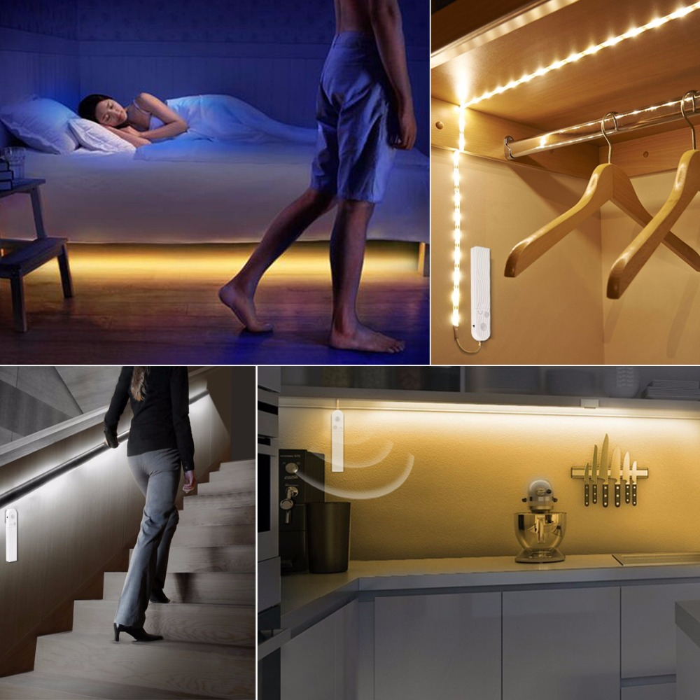 1m 2m 3m Wireless Motion Sensor Led Strip Battery Night Light Under Bed Lamp For Closet Wardrobe Cabinet Stairs Hallway In Strips From Lights