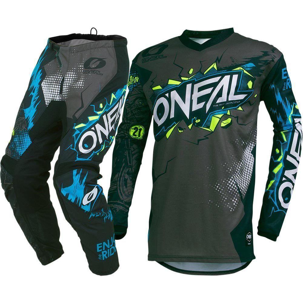 Hot sales 2019 MX Element Villain Grey Blue Jersey Pants Motocross Gear Set MTB ATV Racing jersey pant suit size S--XXL