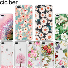 ciciber Flower Cherry Rose Daisy Pattern Design Soft Silicone Phone Cases Cover for Iphone 7 6 6S 8 Plus 5S SE X Capinha Coque