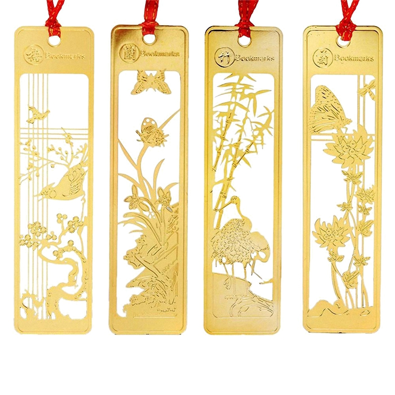 Chinese Metal Bookmarks Set For Kids Women Girls,Pack Of 4