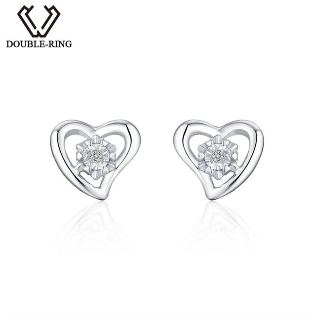 Double R Heart 0 025ct Diamond Earrings Women 925 Sterling Silver